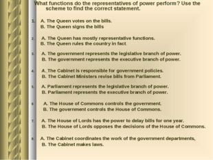 What functions do the representatives of power perform? Use the scheme to fi