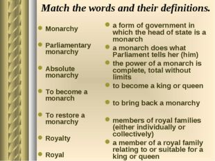 Match the words and their definitions. Monarchy Parliamentary monarchy Absolu