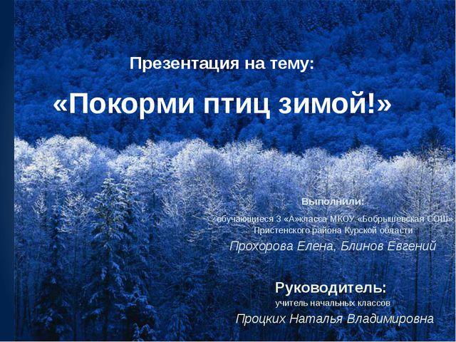 Презентация на тему: «Покорми птиц зимой!» Выполнили: обучающиеся 3 «А»класс...