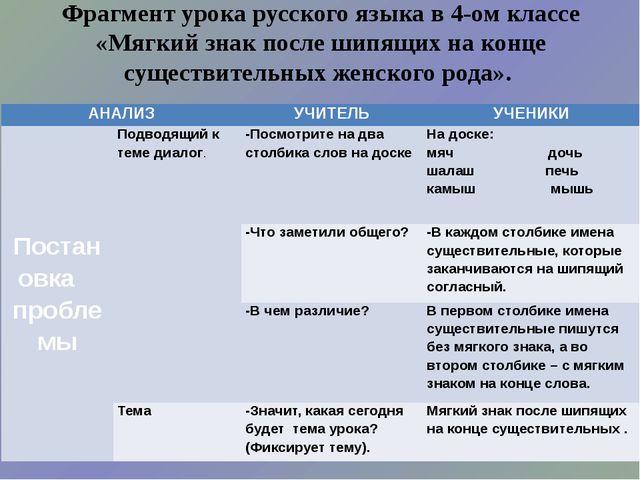 Фрагмент урока русского языка в 4-ом классе «Мягкий знак после шипящих на кон...