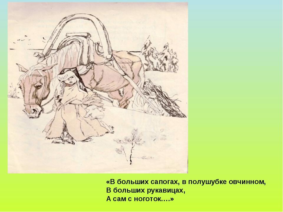«В больших сапогах, в полушубке овчинном, В больших рукавицах, А сам с ногото...