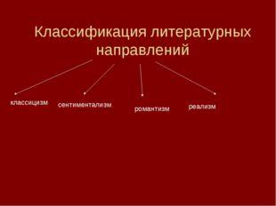 Классификация литературных направлений классицизм сентиментализм романтизм р