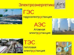 Электроэнергетика ГЭС гидроэлектростанция АЭС Атомная электростанция ТЭС тепл