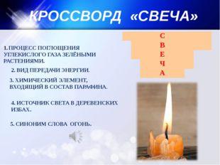 КРОССВОРД «СВЕЧА» ПРОЦЕСС ПОГЛОЩЕНИЯ УГЛЕКИСЛОГО ГАЗА ЗЕЛЁНЫМИ РАСТЕНИЯМИ. 2.
