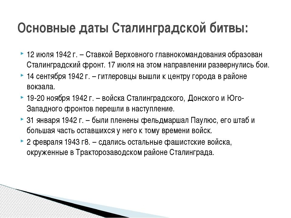 12 июля 1942 г. – Ставкой Верховного главнокомандования образован Сталинградс...