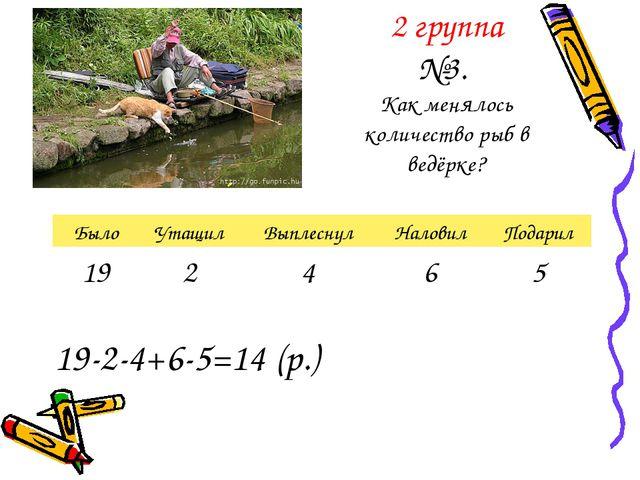 2 группа №3. Как менялось количество рыб в ведёрке? 19-2-4+6-5=14 (р.)