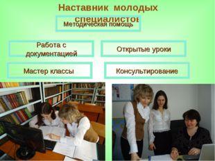 Наставник молодых специалистов Мастер классы Открытые уроки Консультирование