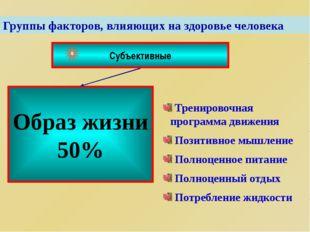 Группы факторов, влияющих на здоровье человека Субъективные Образ жизни 50% Т