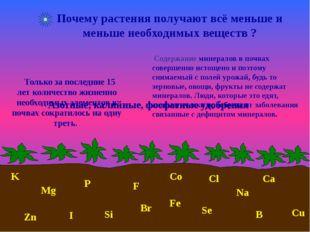V Почему растения получают всё меньше и меньше необходимых веществ ? K Mg Ca