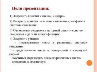 Цели презентации: 1) Закрепить понятия «число», «цифра» 2) Раскрыть понятия «
