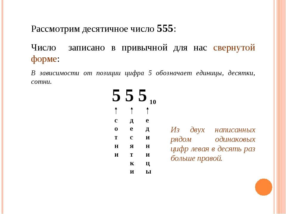 Рассмотрим десятичное число 555: 5 5 5 10 единицы десятки сотни Из двух напис...