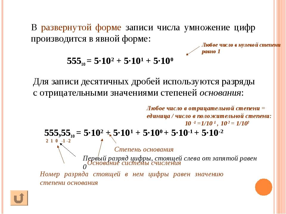 В развернутой форме записи числа умножение цифр производится в явной форме: 5...