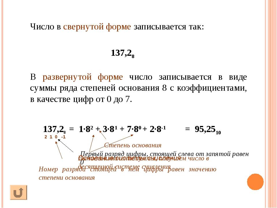 В развернутой форме число записывается в виде суммы ряда степеней основания 8...