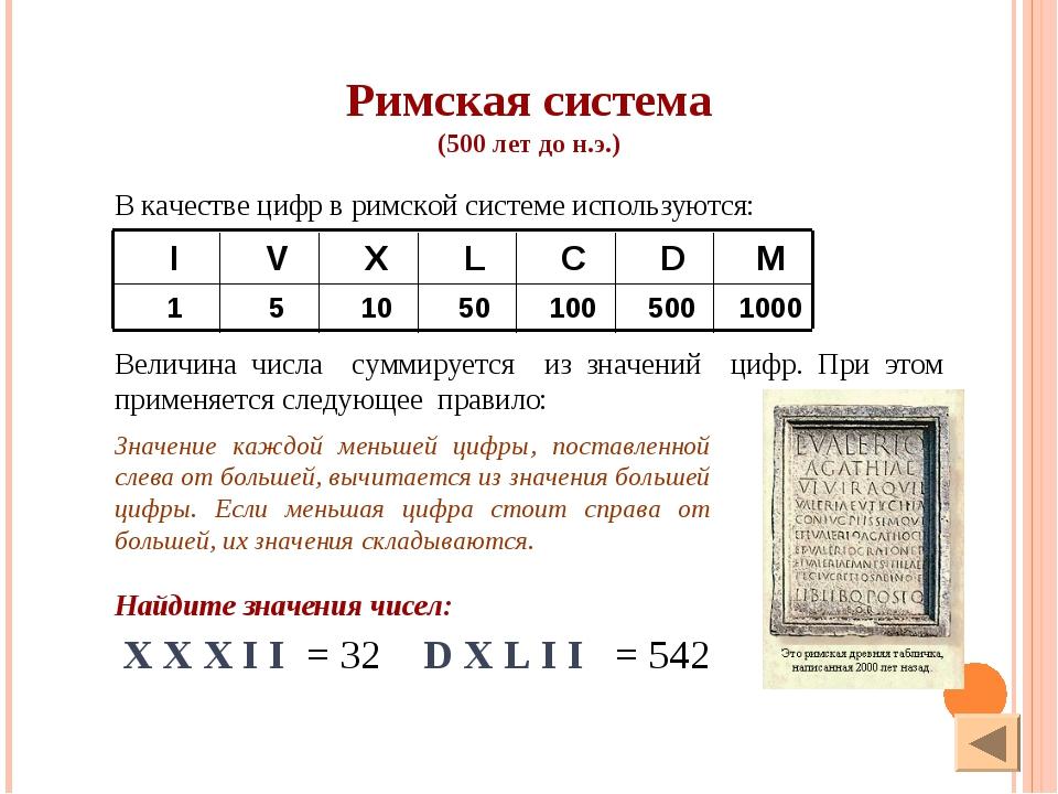 X X X I I = 32 D X L I I = 542 Найдите значения чисел: