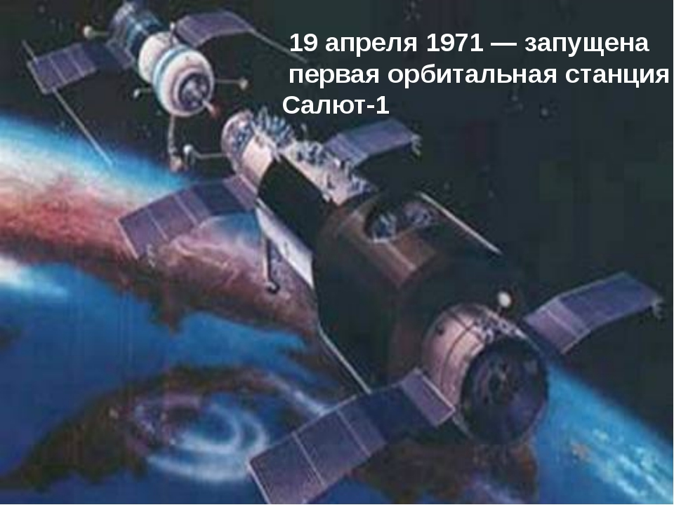 19 апреля 1971 — запущена первая орбитальная станция Салют-1