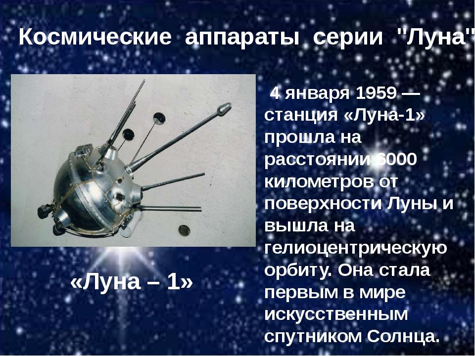 "«Луна – 1» Космические аппараты серии ""Луна"" 4 января 1959 — станция «Луна-1»..."