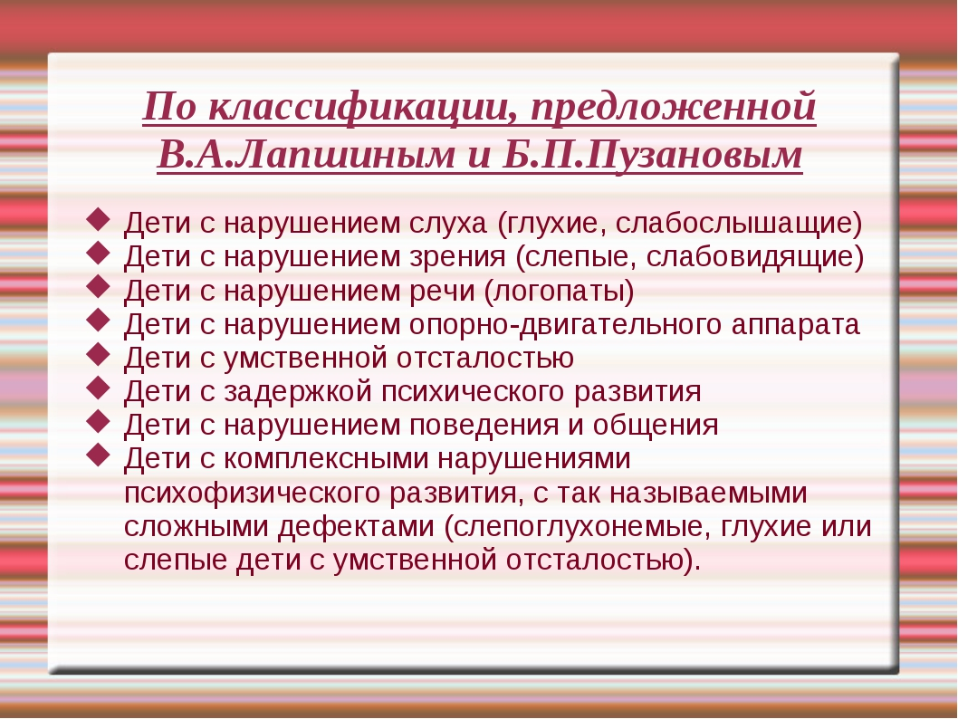 По классификации, предложенной В.А.Лапшиным и Б.П.Пузановым Дети с нарушением...
