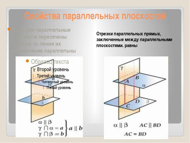 Свойства параллельных плоскостей Отрезки параллельных прямых, заключенные меж...