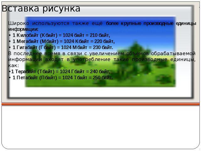 Широко используются также ещё более крупные производные единицы информации:...