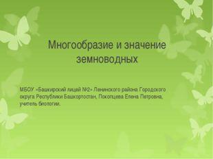 Многообразие и значение земноводных МБОУ «Башкирский лицей №2» Ленинского рай
