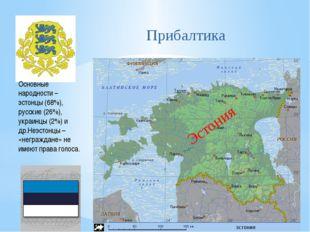 Эстония Основные народности – эстонцы (68%), русские (26%), украинцы (2%) и д