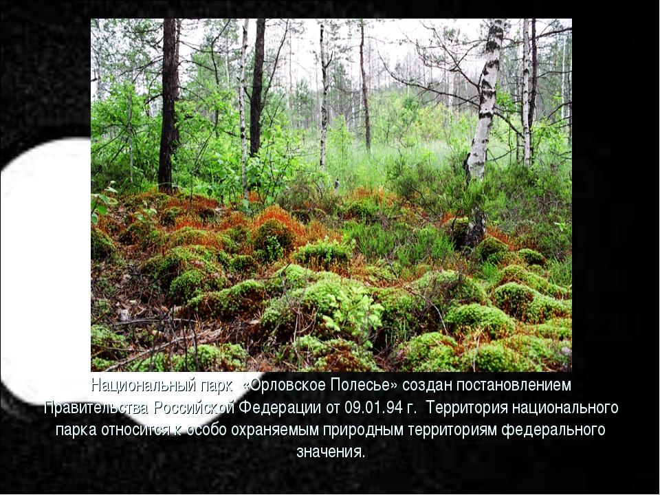 Национальный парк «Орловское Полесье» создан постановлением Правительства Рос...