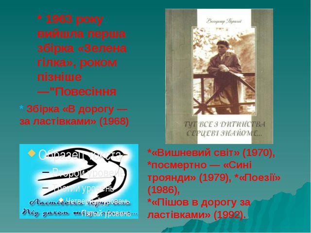 """* 1963 року вийшла перша збірка «Зелена гілка», роком пізніше —""""Повесіння *«В..."""