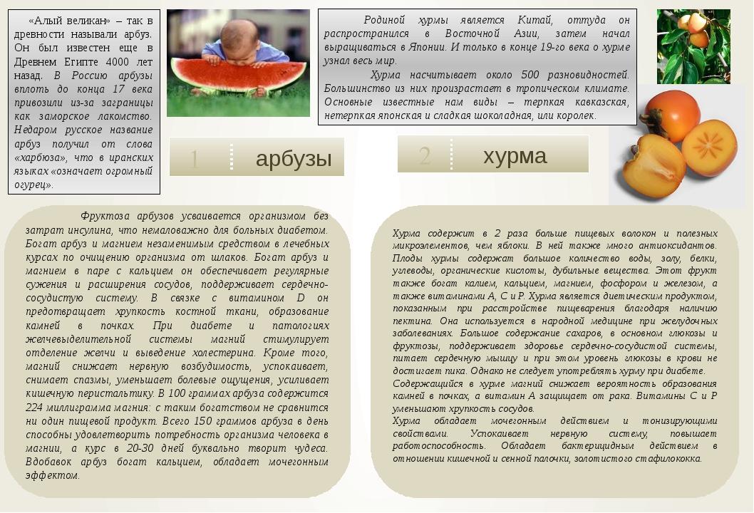 арбузы 1 хурма 2  Фруктоза арбузов усваивается организмом без затрат инсули...