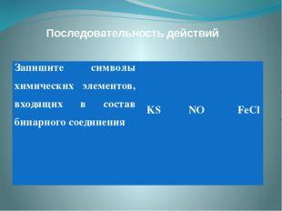 Последовательность действий Запишите символы химических элементов, входящих в