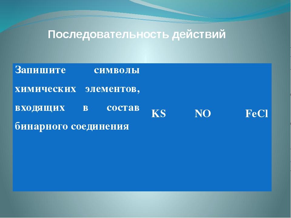 Последовательность действий Запишите символы химических элементов, входящих в...