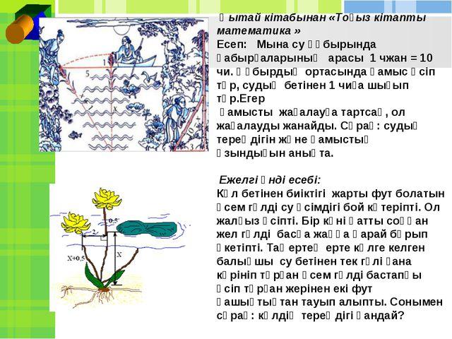 Қытай кітабынан «Тоғыз кітапты математика » Есеп: Мына су құбырында қабырғал...
