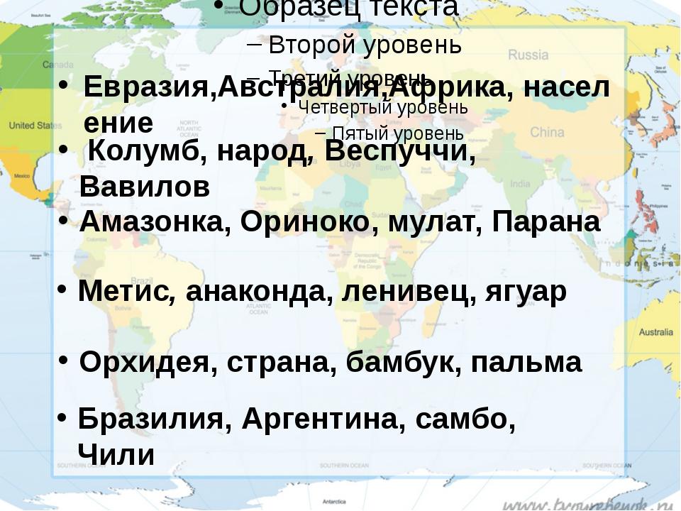 Евразия,Австралия,Африка,население Колумб,народ,Веспуччи, Вавилов . Амаз...