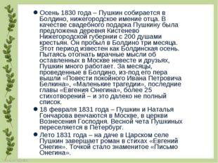 Осень 1830 года – Пушкин собирается в Болдино, нижегородское имение отца. В к