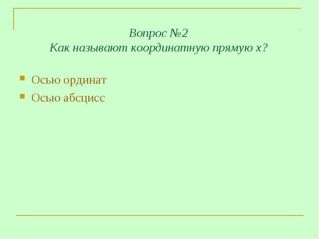 Вопрос №2 Как называют координатную прямую х? Осью ординат Осью абсцисс