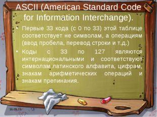 * * ASCII (American Standard Code for Information Interchange). Первые 33 код