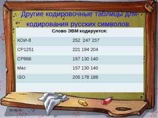 * * Другие кодировочные таблицы для кодирования русских символов Слово ЭВМ ко