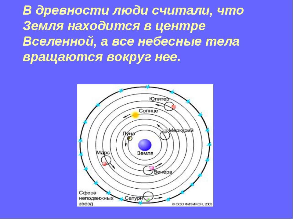 В древности люди считали, что Земля находится в центре Вселенной, а все небес...