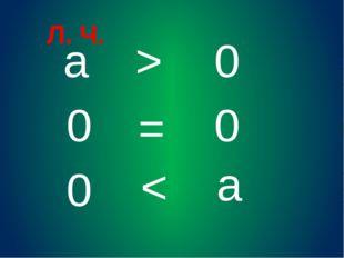 а 0 Л. Ч. > 0 0 = > 0 а