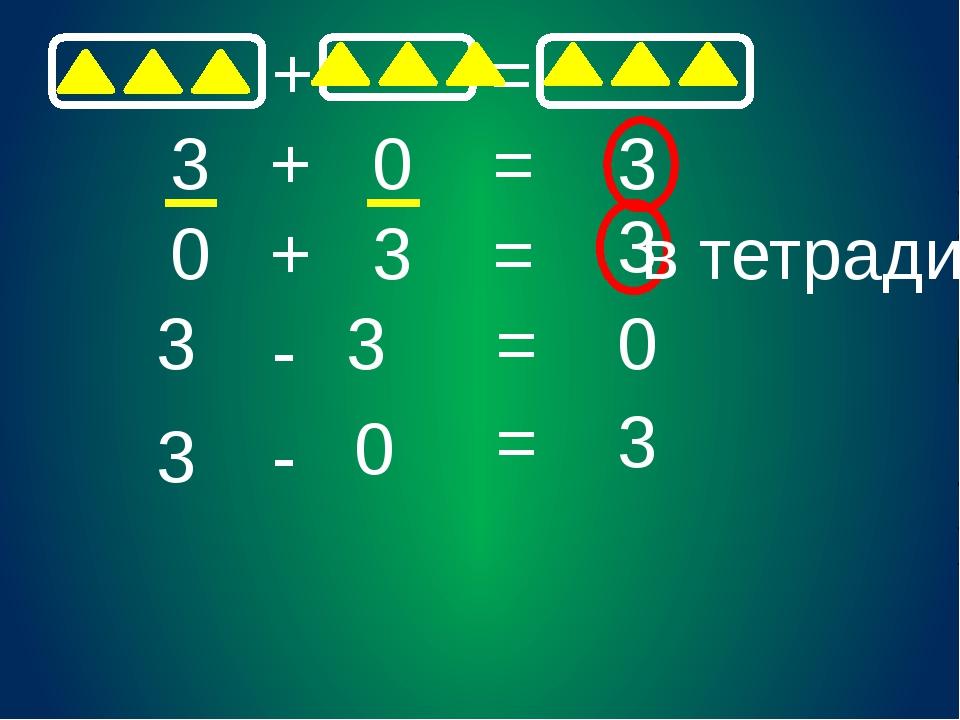 + = 3 + 0 = 3 0 + 3 = 3 3 3 - - 3 0 = 0 = 3 в тетради