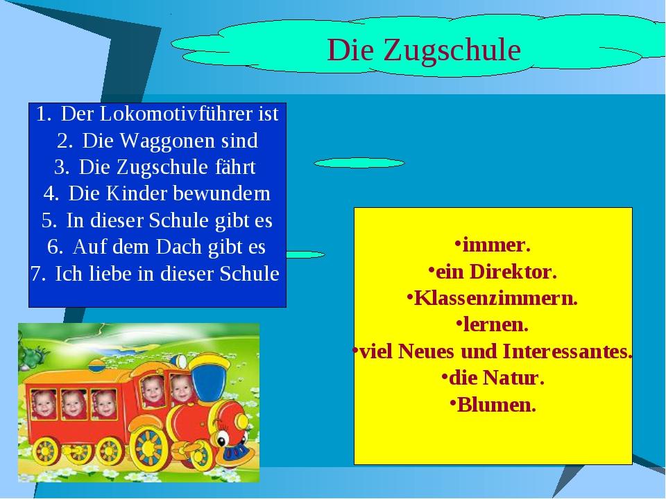 Die Zugschule Der Lokomotivführer ist Die Waggonen sind Die Zugschule fährt D...