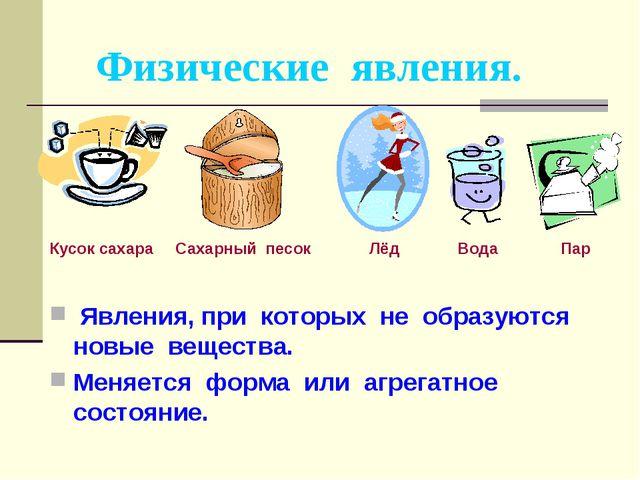 Физические явления. Кусок сахара Сахарный песок Лёд Вода Пар Явления, при кот...