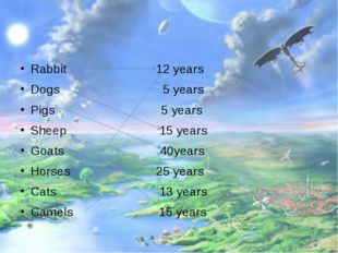 Rabbit 12 years Dogs 5 years Pigs 5 years Sheep 15 years Goats 40years Horse