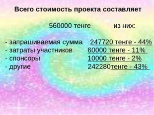Всего стоимость проекта составляет 560000 тенге из них: - запрашиваемая сумма