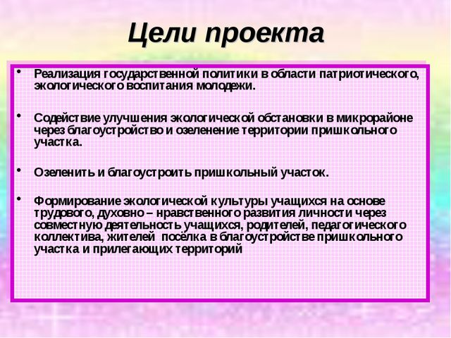 Цели проекта Реализация государственной политики в области патриотического,...