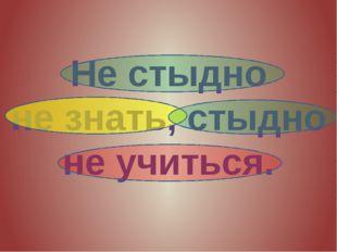 Не стыдно не знать, стыдно не учиться.