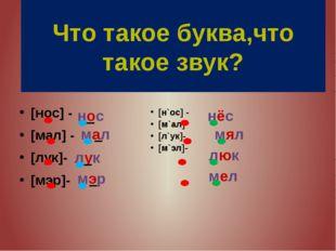 [н`ос] - [м`ал] [л`ук]- [м`эл]- [нос] - [мал] - [лук]- [мэр]- Что такое буква
