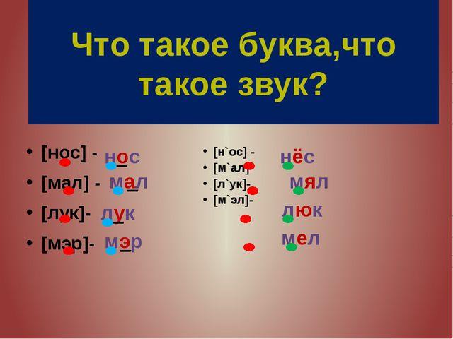 [н`ос] - [м`ал] [л`ук]- [м`эл]- [нос] - [мал] - [лук]- [мэр]- Что такое буква...