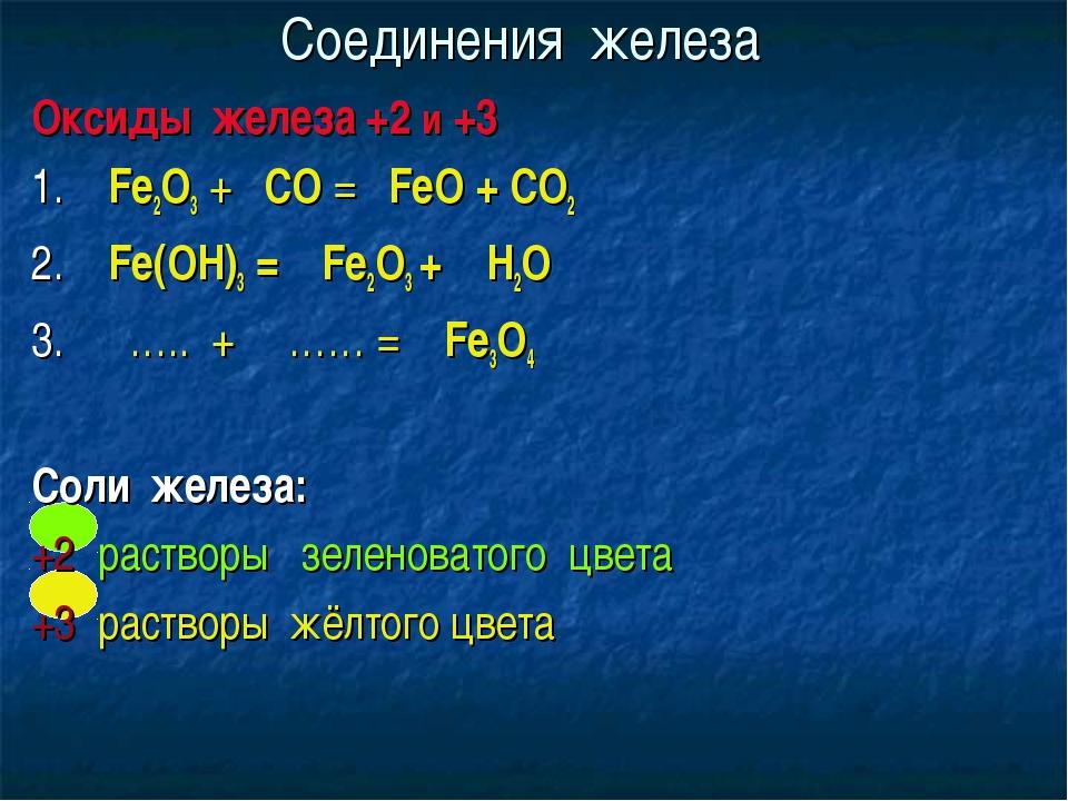 Соединения железа Оксиды железа +2 и +3 1. Fe2O3 + СО = FeO + СО2 2. Fe(OH)3...