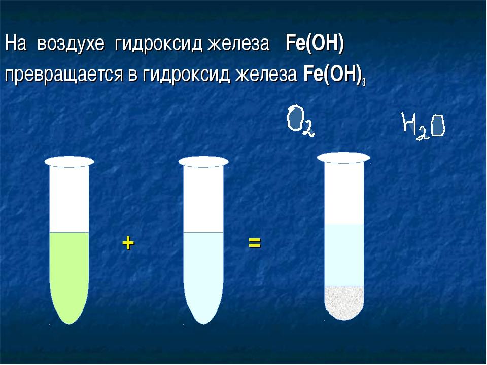 На воздухе гидроксид железа Fe(OH) превращается в гидроксид железа Fe(OH)3...