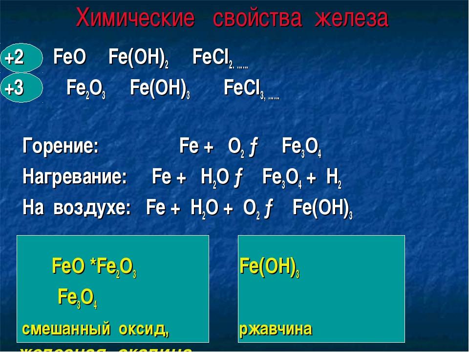 Химические свойства железа +2 FeO Fe(OH)2FeCl2. …… +3 Fe2O3 Fe(OH)3 FeCl3,...